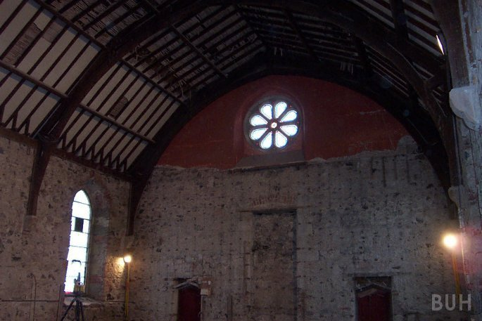 photo of church stripped out for conversion - facing South