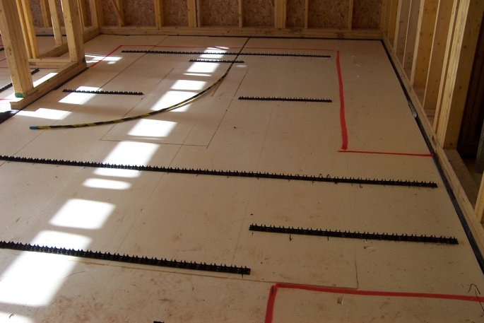 photo of insulation laid for underfloor heating in kitchen