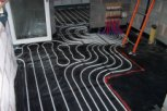 photo of ground floor with underfloor heating pipes prepared for anhydrite screed