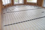 photo of underfloor heating in slab and screed floor of sun room