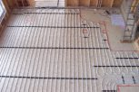 birds eye view photo of underfloor heating in slab and screed floor