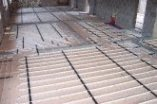 overview photo of slab plus screed floor with underfloor heating