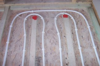 close-up photo of underfloor heating in suspended timber floor